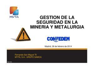 GESTION DE LA SEGURIDAD EN LA MINERIA Y METALURGIA