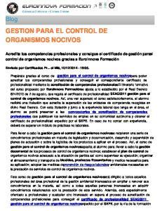 GESTION PARA EL CONTROL DE ORGANISMOS NOCIVOS