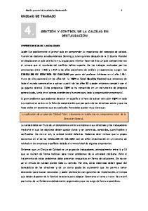 GESTIÓN Y CONTROL DE LA CALIDAD EN RESTAURACIÓN