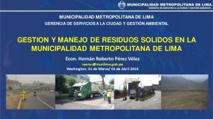 GESTION Y MANEJO DE RESIDUOS SOLIDOS EN LA MUNICIPALIDAD METROPOLITANA DE LIMA