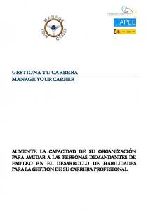 GESTIONA TU CARRERA MANAGE YOUR CAREER