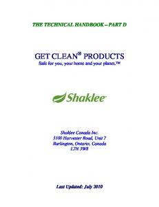 GET CLEAN PRODUCTS Safe for you, your home and your planet