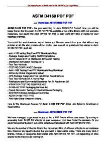 Get Instant Access to ebook Astm D4169 Pdf PDF at Our Huge Library ASTM D4169 PDF PDF. ==> Download: ASTM D4169 PDF PDF