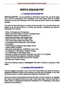 Get Instant Access to ebook Breviloquium PDF at Our Huge Library BREVILOQUIUM PDF. ==> Download: BREVILOQUIUM PDF