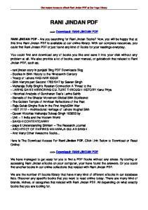 Get Instant Access to ebook Rani Jindan PDF at Our Huge Library RANI JINDAN PDF. ==> Download: RANI JINDAN PDF
