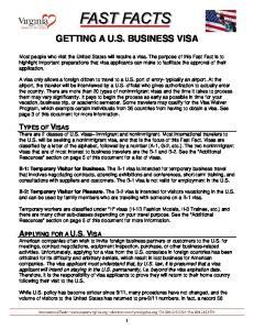 GETTING A U.S. BUSINESS VISA