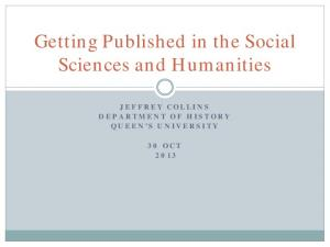 Getting Published in the Social Sciences and Humanities