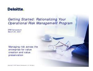 Getting Started: Rationalizing Your Operational Risk Management Program