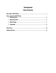 Getting Started. Table of Contents