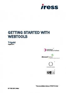 GETTING STARTED WITH WEBTOOLS