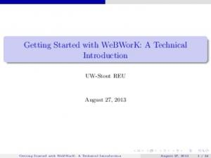 Getting Started with WeBWorK: A Technical Introduction