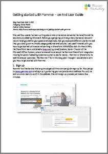 Getting started with Yammer an End User Guide