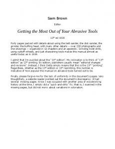 Getting the Most Out of Your Abrasive Tools