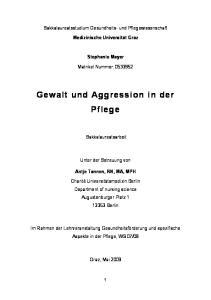 Gewalt und Aggression in der Pflege