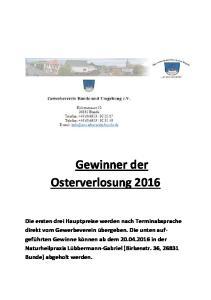 Gewinner der Osterverlosung 2016