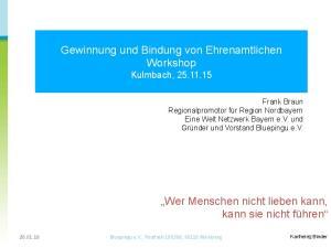 Gewinnung und Bindung von Ehrenamtlichen Workshop Kulmbach,
