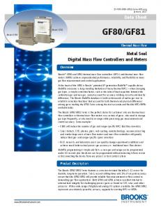 GF81. Data Sheet. Metal Seal Digital Mass Flow Controllers and Meters. Overview. Product Description. Thermal Mass Flow