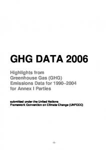 GHG DATA Highlights from Greenhouse Gas (GHG) Emissions Data for for Annex I Parties