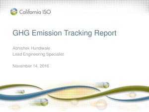 GHG Emission Tracking Report