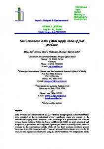 GHG emissions in the global supply chain of food products