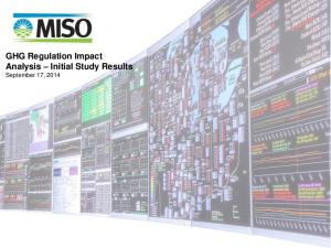 GHG Regulation Impact Analysis Initial Study Results September 17, 2014