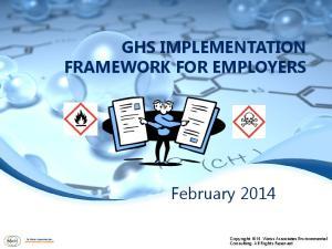 GHS IMPLEMENTATION FRAMEWORK FOR EMPLOYERS