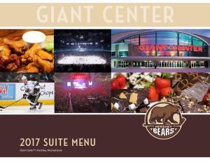 GIANT CENTER SUITE MENU Giant Center SM, Hershey, Pennsylvania