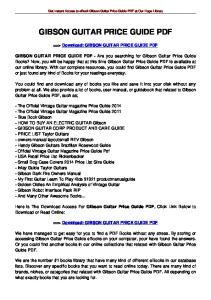 GIBSON GUITAR PRICE GUIDE PDF