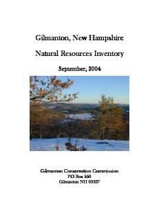 Gilmanton, New Hampshire. Natural Resources Inventory
