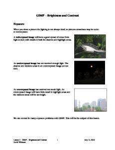 GIMP Brightness and Contrast