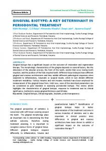 GINGIVAL BIOTYPE: A KEY DETERMINANT IN PERIODONTAL TREATMENT