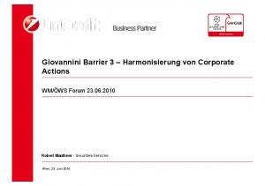 Giovannini Barrier 3 Harmonisierung von Corporate Actions