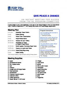 GIVE PEACE A CHANCE. Meeting Plan. Meeting Supplies