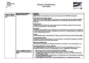 Glacial Environments fact sheet