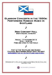 Glasgow Concerts in the 1930s: Performing Russian Music in Scotland