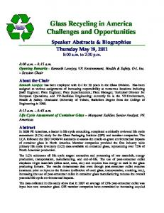 Glass Recycling in America Challenges and Opportunities