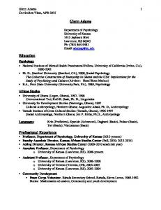 Glenn Adams 1 Curriculum Vitae, APR Glenn Adams