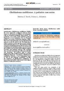 Glioblastoma multiforme: A pediatric case series