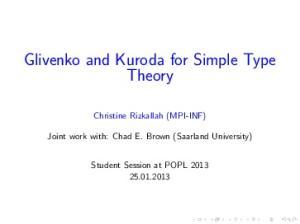 Glivenko and Kuroda for Simple Type Theory