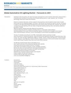 Global Automotive OE Lighting Market - Forecasts to 2031