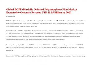 Global BOPP (Biaxially Oriented Polypropylene) Film Market Expected to Generate Revenue USD Billion by 2020
