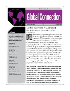 Global Connection. Doing Business in Canada. contents