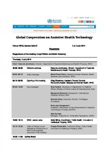 Global Cooperation on Assistive Health Technology