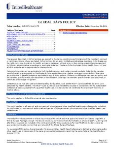 GLOBAL DAYS POLICY. Policy Number: SURGERY T0 Effective Date: November 21, 2016