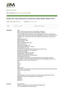 Global Dry Type Distribution Transformer Sales Market Report 2016