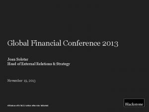 Global Financial Conference 2013