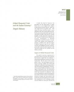 Global Financial Crisis and the Indian Economy* Deepak Mohanty
