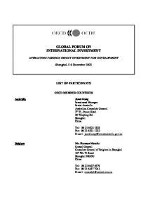 GLOBAL FORUM ON INTERNATIONAL INVESTMENT