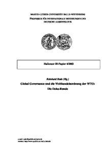 Global Governance und die Welthandelsordnung der WTO: Die Doha-Runde