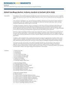 Global Handbags Market: Industry Analysis & Outlook ( )